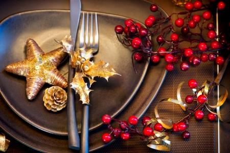 adorning: Christmas and New Year Holiday Table Setting  Celebration Stock Photo