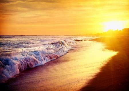 Beautiful Sea Sunset Beach  Mediterranean Sea  Spain photo