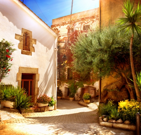 mediterranean houses: Spain, Catalunya, Barcelona  Street of Old Mediterranean Town