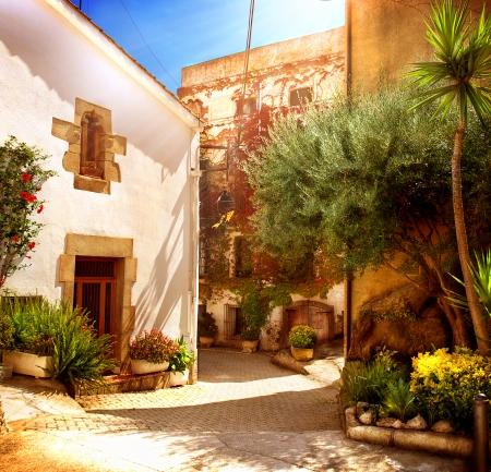 catalunya: Spain, Catalunya, Barcelona  Street of Old Mediterranean Town