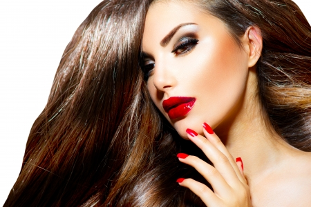 Sexy Girl de belleza con labios rojos y u�as provocativa Maquillaje photo