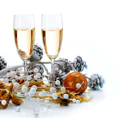 christmas champagne: Two Champagne Glasses  Christmas Celebration