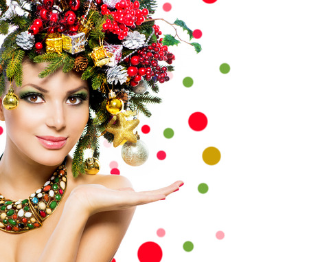Christmas Woman  Christmas Holiday Hairstyle and Makeup