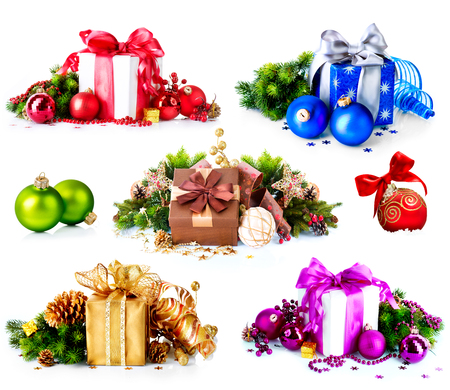 Christmas  Collage of Colorful New Year s Gifts and Decorations photo