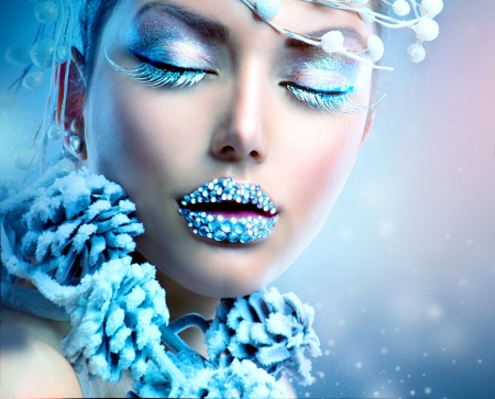 Winter Beauty Woman  Christmas Girl Makeup photo