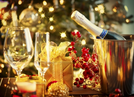 dinner table: Christmas And New Year Holiday Table Setting  Celebration Stock Photo