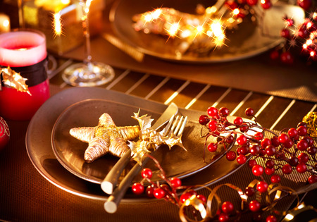 Christmas And New Year Holiday Table Setting  Celebration Stock Photo - 23879479