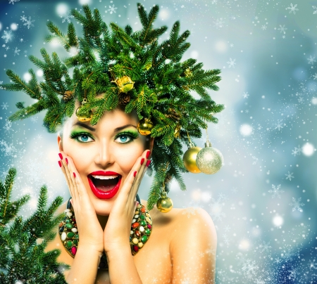Christmas Woman  Christmas Holiday Hairstyle and Makeup Stock Photo - 24099519