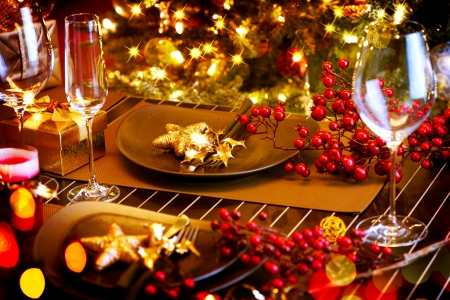lights on: Christmas And New Year Holiday Table Setting  Celebration Stock Photo