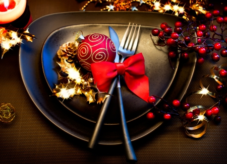 christmas meal: Christmas and New Year Holiday Table Setting  Celebration Stock Photo