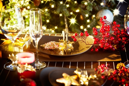 Christmas And New Year Holiday Table Setting  Celebration Stock Photo - 23961196