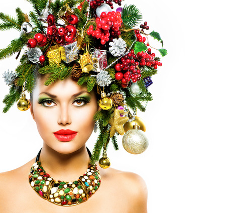 Christmas Woman  Christmas Holiday Hairstyle and Makeup  Stock Photo - 24099528