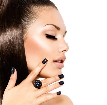 Beauty Fashion Model meisje met lange gezond bruin haar Stockfoto