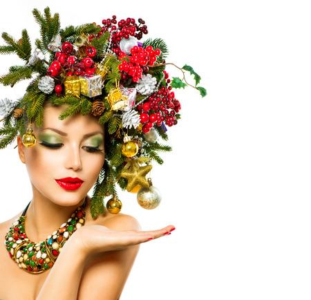 Christmas Woman  Beautiful Holiday Christmas Tree Hairstyle