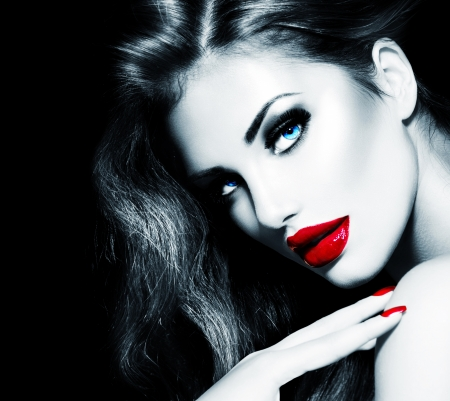 glamours: Sexy Beauty Girl with Red Lips and Nails  Provocative Makeup Stock Photo