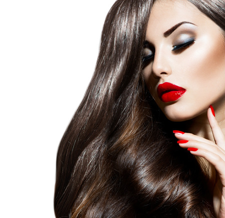 lipsticks: Sexy Beauty Girl with Red Lips and Nails  Provocative Makeup Stock Photo