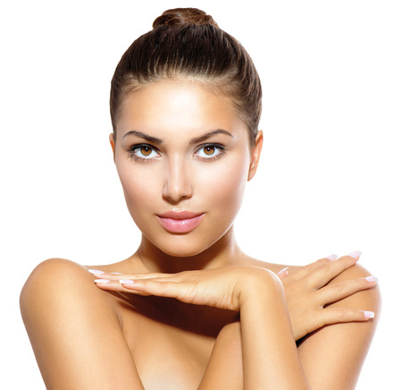 beauty: Beauty Model Girl Looking at Camera  Skin Care Concept