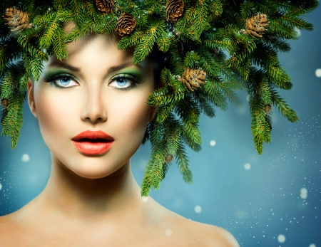 Christmas Woman  Christmas Tree Holiday Hairstyle and Makeup photo