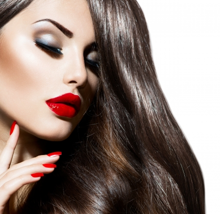 lips: Sexy Beauty Girl with Red Lips and Nails  Provocative Makeup Stock Photo