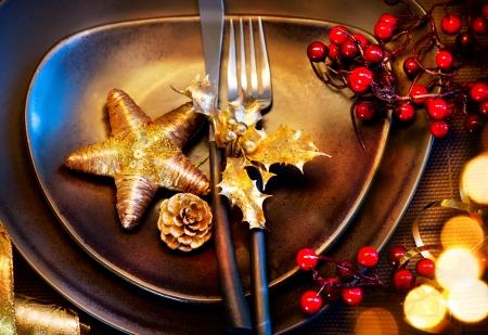 Christmas And New Year Holiday Table Setting  Celebration Stock Photo - 24331789