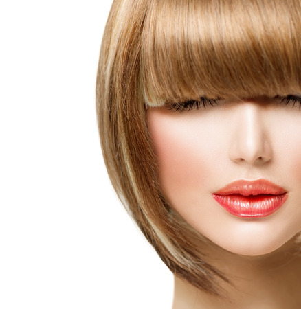 girl short hair: Fringe Hairstyle  Beauty Girl with short Hair