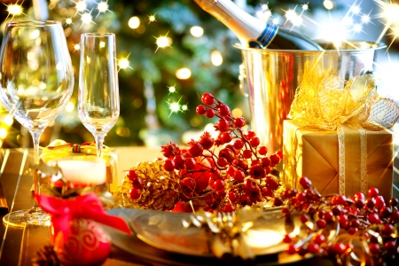 Christmas And New Year Holiday Table Setting with Champagne photo