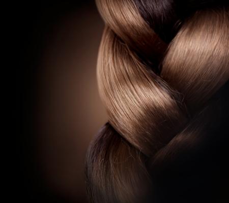 브레이드 헤어 스타일 갈색 긴 머리는 건강한 헤어를 닫습니다 스톡 콘텐츠 - 24331794