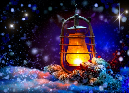Christmas Lantern  Magic Stars  Winter Holiday Scene