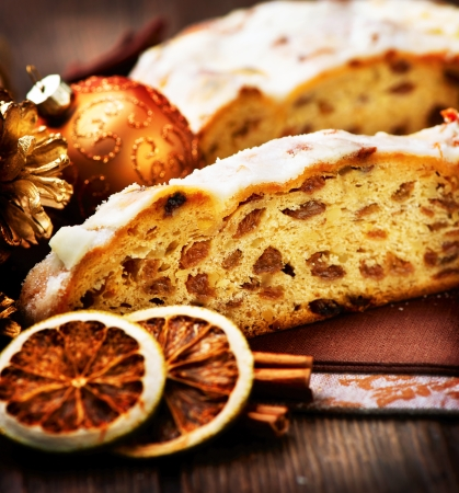 Christmas Stollen  Traditional Sweet Fruit Loaf  photo