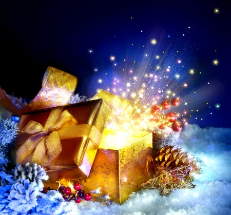 stars: Christmas Gift Box with miracle  Magic Stars and Light Stock Photo