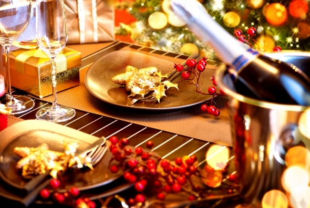 Christmas And New Year Holiday Table Setting with Champagne Stock Photo - 24331800