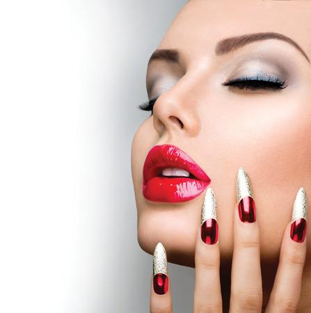 Mode Beauty Model Girl Manicure en Make-up Nail art