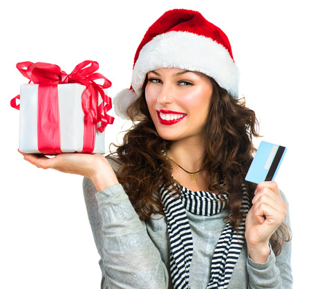 Christmas Shopping  Happy Smiling Woman with Gift Box photo