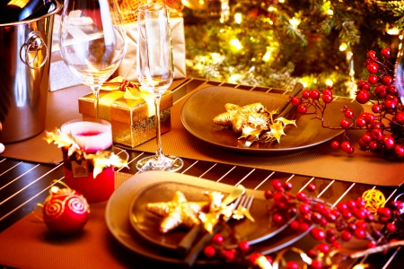 table: Christmas And New Year Holiday Table Setting with Champagne