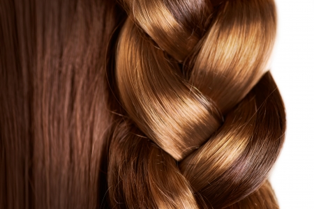 hair: Braid Hairstyle  Brown Long Hair close up  Healthy Hair Stock Photo