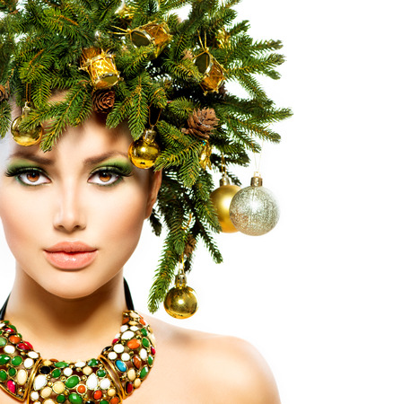 Christmas Woman  Beautiful Christmas Holiday Hairstyle Stock Photo - 24331825