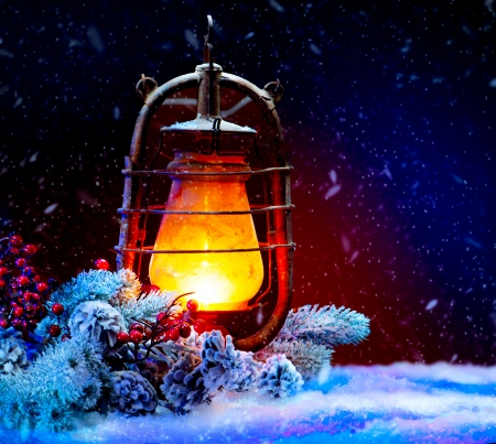 Christmas Lantern  Magic Stars  Winter Holiday Scene Stock Photo - 24331808