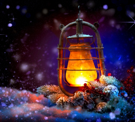 Christmas Lantern  Magic Stars  Winter Holiday Scene photo
