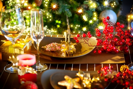 Christmas And New Year Holiday Table Setting with Champagne Stock Photo - 24331809