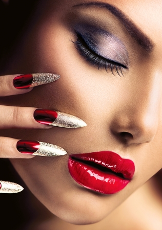 Mode Beauty Model Girl Manicure en Make-up Nail art