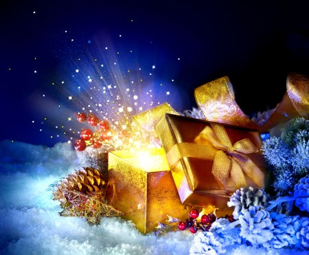 Christmas Gift Box with miracle  Magic Stars and Light Stock Photo