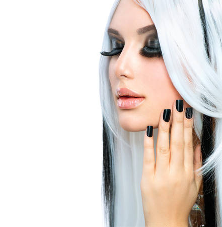 Beauty Fashion Girl black and white style  Long White Hair Stock Photo - 24331834