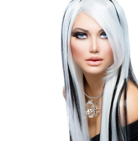Beauty Fashion Girl black and white style  Long White Hair Stock Photo