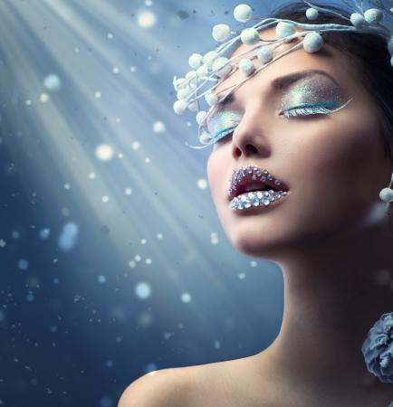 Winter Beauty Woman Kerst meisje make-up Stockfoto