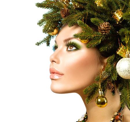 Christmas Woman  Beautiful Christmas Holiday Hairstyle