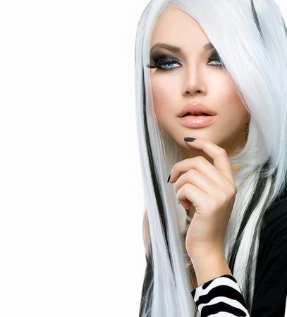 locks: Beauty Fashion Girl black and white style  Long White Hair Stock Photo