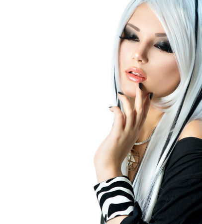 beautiful model: Beauty Fashion Girl black and white style  Long White Hair Stock Photo