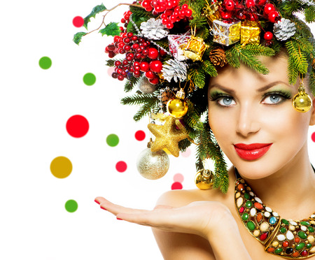 Christmas Woman  Beautiful Holiday Christmas Tree Hairstyle photo