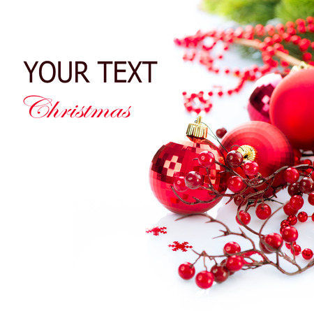 クリスマスと新年安物の宝石と白で隔離される装飾 写真素材