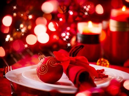 restaurant setting: Christmas And New Year Holiday Table Setting  Celebration Stock Photo
